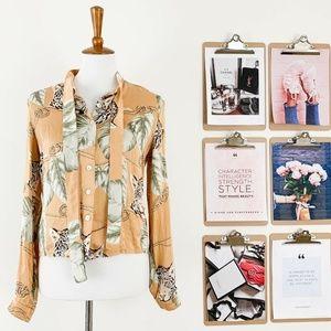 Sharagano Leopard Silk Blouse T 2 Safari Print